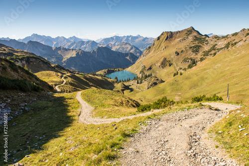 canvas print picture Weg zu einem See mit Bergen im Allgäu