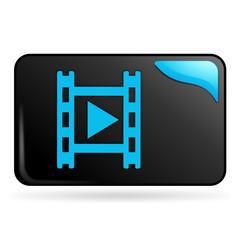 film vidéo sur bouton web rectangle bleu