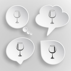 Goblet. White flat vector buttons on gray background.
