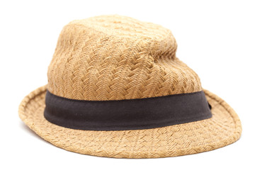very old misshapen panama straw hat