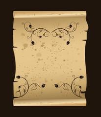 manuscript with floral elements