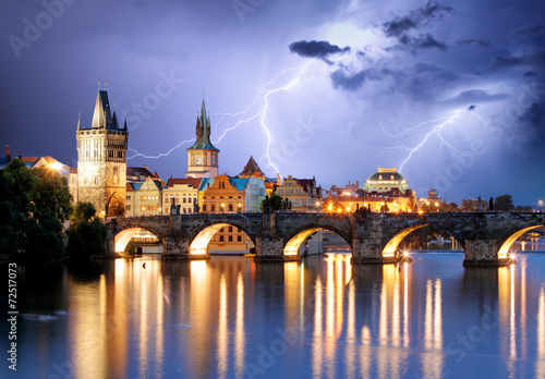 Fotobehang Praag Prague bridge at storm
