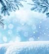Leinwandbild Motiv Winter Christmas background with fir tree branch