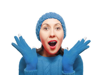 Woman Wearing Winter Hat and Gloves