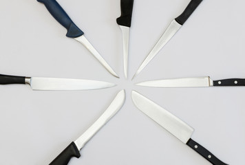 radially arranged kitchen knives