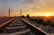 canvas print picture - Railway at sunset