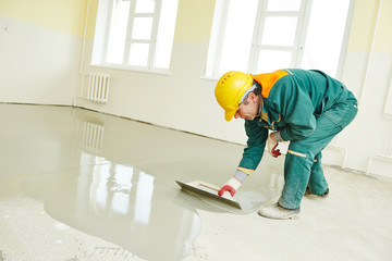 flooring works with self-levelling mortar
