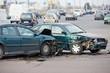 Leinwanddruck Bild - car crash collision in urban street