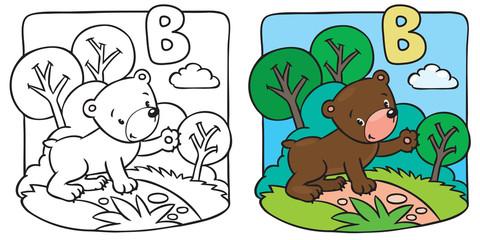 Little teddy bear coloring book. Alphabet B