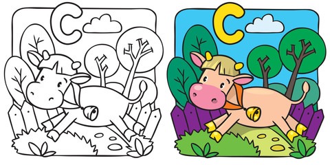Little cow or calf coloring book. Alphabet C