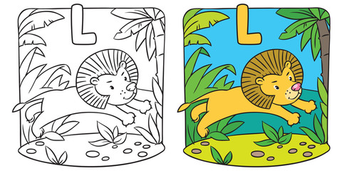 Little lion coloring book. Alphabet L