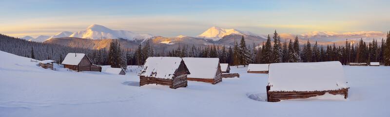 Winter landscape in the mountain village