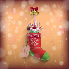 Christmas sock with gifts in vector