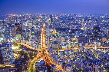 Tokyo, Japan Cityscape and Highways