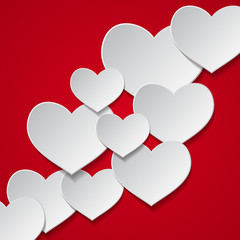 Red background with white hearts