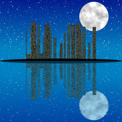 City at night, with moon, stars and reflection in water