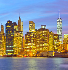 New York City, USA,  cityscape of Manhattan   at sunset.