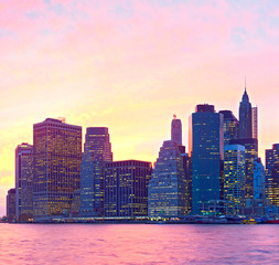 New York City, USA, colorful cityscape of Manhattan