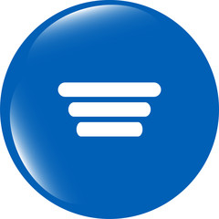 List sign icon. Content view option symbol. web shiny button