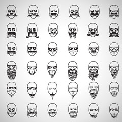Face With Mustache And Beard Set - Isolated On Gray Background