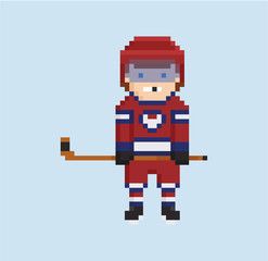 pixel art style illustration shows hockey player in red, white