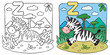 Little Zebra coloring book. Alphabet Z