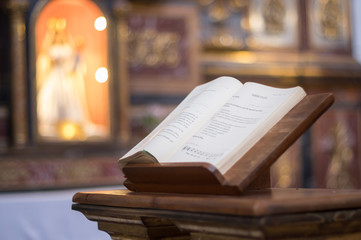 Bible open inside church