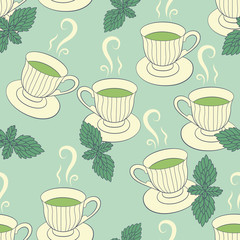 Seamless pattern with hand drawing cups and mint
