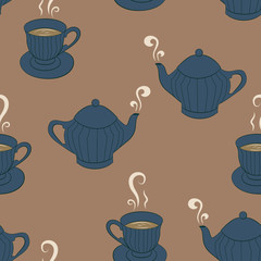 Seamless pattern background with sketching tea service