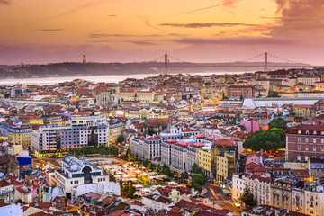 Lisbon, Portugal Skyline at Dusk