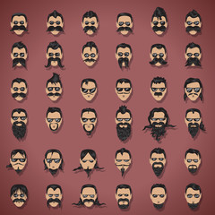 Face With Mustache And Beard Set - Isolated On Purple Background