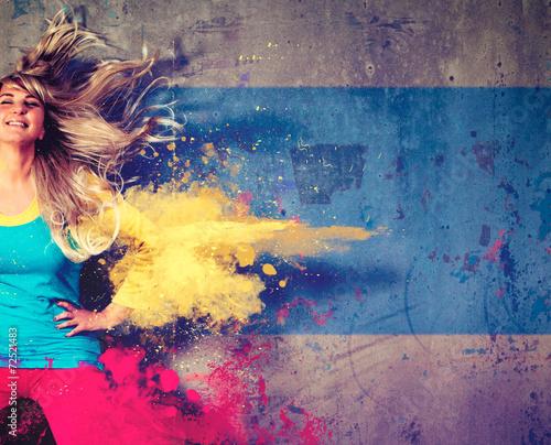 Fotobehang Dans colorsplash girl - movin 02_2