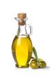 Aceite de oliva virgen y aceitunas verdes con hojas aislado - 72522074