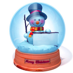 Snowman in snow globe with white panel