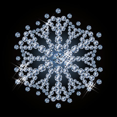 Brilliant diamond snowflake, vector illustration