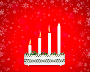 Advent candlestick with three burning candles.