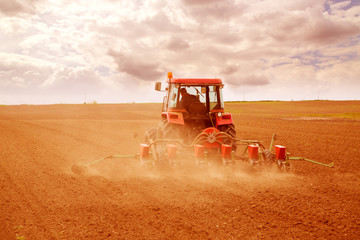 Farmer sowing crops at field