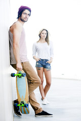 Skateboarding couple