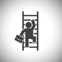 Businessman Climbing Ladder
