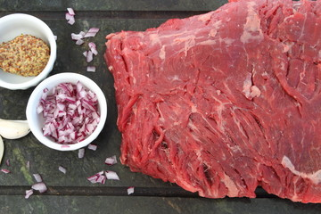 Raw blank steak with french shallot, mustard and garlic