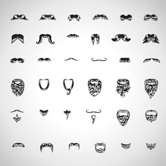 Mustache And Beard Icons Set - Isolated On Gray Background