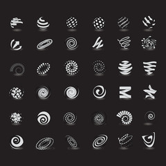 Unusual Spiral Set - Isolated On Gray Background