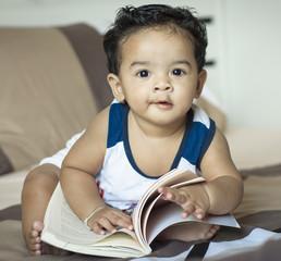 Cute boy  reading