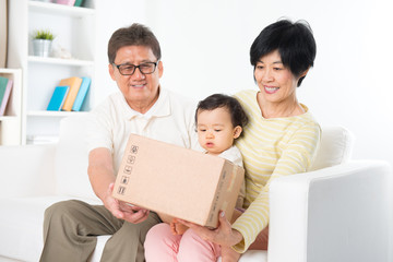 Asian family received parcel