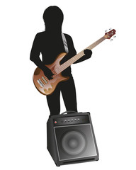 the man with guitar vector design