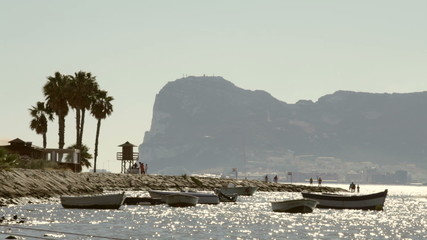 Rock of Gibraltar and seaside in Palmones, Spain.