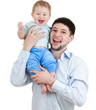 happy father holding his son isolated on white