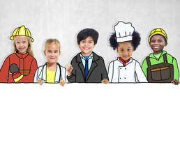 Group of Children with Professional Occupation