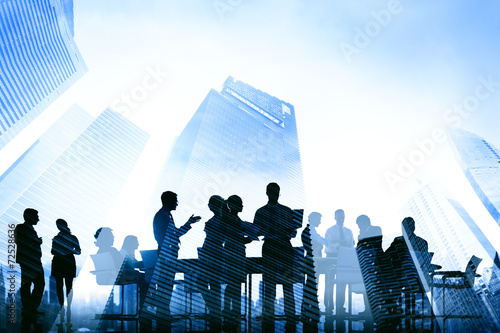 canvas print picture Business People Meeting Communication City