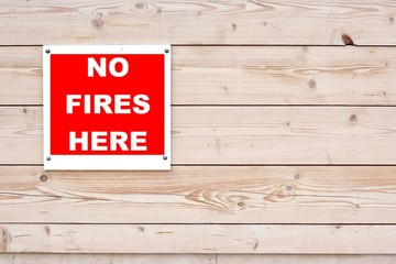 NO FIRES HERE Sign